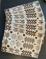More details for set 6 welsh wool tapestry table mats | 1970s | reversible | cream, brown & stone