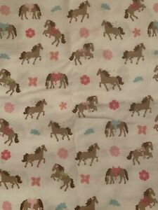 Girls Room Ponies Horses Twin Sheet Set Flat Fitted White Pink Blue