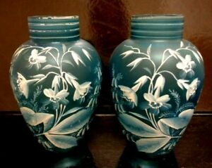HAND PAINTED PAIR EUROPEAN 1920'S BLUE GLASS VASES  Europe, early 20th century.