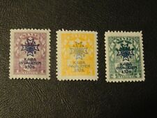 Latvia Stamps SG 112/114 MM issued 1923 Charity War Invalids Surcharged.