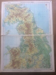 Vintage 1951 Map 20x15 inch taken from The Oxford Atlas 1951 England Wales North