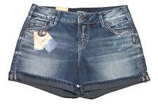 Silver Elyse Short Shorts Mid Rise Indigo Wash Curvy L53004SSG348 NWT Sz 27