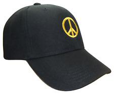 Peace Sign Symbol Black & Gold Adjustable Curved Bill Baseball Cap Caps Hat Hats