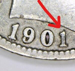 1901/1-O Repunched Date Barber Dime; Nice XF