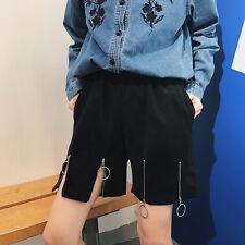 Women Harajuku Solid Metal Ring Black Shorts Casual Elastic Waist Short Pants