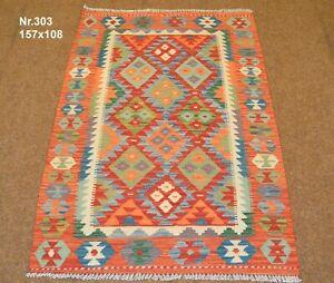 Handgewebter Orient Kelim Afghan Nr.303 - 157x108cm aus 100% Wolle