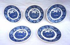 Adams Staffordshire English Scenic Blue 5 Dessert Plates Set England
