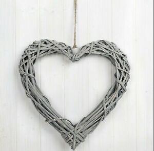 XLarge 40cm Grey Wash Willow Wicker Hanging Heart Shabby Chic Wedding Wreath