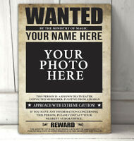 Wanted Wizard Personalised with your photo & Name A4 metal sign