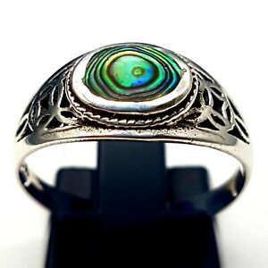 Preloved Sterling Silver & Abalone Pierced Work Ring - UK Size P -