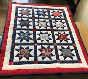 Patriotic Star Patchwork Quilt handmade lap size red white blue cotton fabrics
