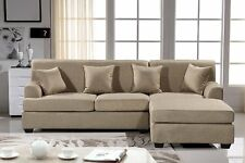 Large Beige Couch Sectional Cloth Modern Contemporary Upholstered NEW