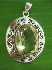 100 %925 sterling silver REAL natural Faceted Oval LEMON QUARTZ Filigree Pendant