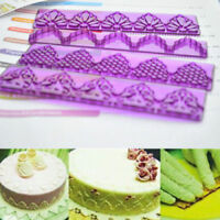 4Pcs Fondant Cake Lace Mold Cutter Sugarcraft Paste Plastic Mould Tool Sets