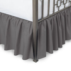 Solid Ruffled Bedskirt with Split Corners Multiple Colors and Sizes - Blissford