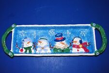 """St. Nicholas Square Button Up Tree Snowman Family 16"""" Snack Tray Emb Christmas"""