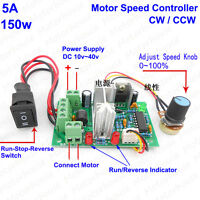 12V-36V 24V 5A PWM DC Motor Speed Controller CW CCW Reversible Regulator Switch