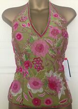Aftershock Green Pink Silk Corset Boned Halter Sequin Beaded Top XL 14 16 38 40