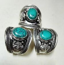 Classic Old Tibet Silver Natural oval Turquoise stone Ring Buddhism one pieces
