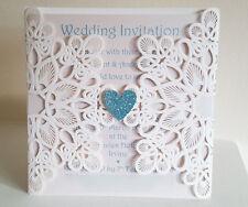 DIY Laser Cut Embossed Wedding Invite, Glitter Heart, Card Insert & Envelope