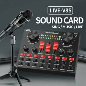 V8S External Sound Card USB Interface Microphone Mixer for Audio /Broadcast/Live