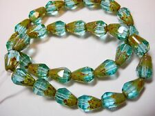 25 Czech Glass Clear Crystal Copper Lined Faceted Teardrop Beads 7x5mm