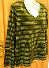 Dash Size 16 Ladies Womens Green Stripe Velour V Neck Jumper Top
