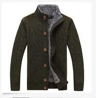 Mens Knited Thick Cardigan Sweaters Military Combat Jacket Outerwear Coat G167