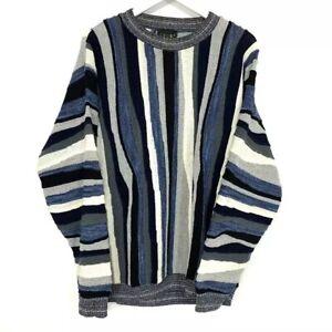 Vintage Coogi Blue Black Multi Knit Sweater Blue Men's Size: XXL