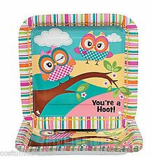 YOU'RE A HOOT OWL PARTY ~ Lunch / Dinner Plates - pack of 8