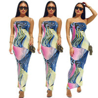 Summer Women Strapless Off Shoulder Printed Casual Club Party Maxi Bodycon Dress