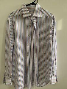 KITON Men's Cotton Stripe Handmade Shirt 16.5/42 Worn Twice