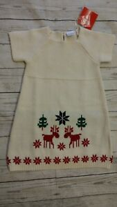 Hanna Andersson 90 3T Girl Knit Cotton Wool Sweater Dress Christmas Reindeer