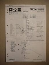 Roland GK-2 Synthesizer Driver Specifications Service Notes First Edition
