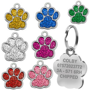 Engraved Cat Tag Personalised Name Charm ID Collar Kitten Animal Glitter Neck UK