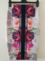 Next Floral Print Flower Straight Multicolor Pencil Midi Skirt UK 8 RRP £40