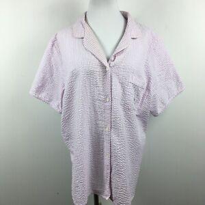 Miss Elaine XL Sleepshirt Button Up Seersucker Purple Stripe Short Sleeve Pocket