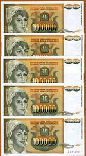 LOT Yugoslavia, 5 x 100000 Dinara 1993, Pick 118 UNC > Young Woman, Sunflowers