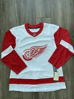 NEW Detroit Red Wings Adidas Authentic NHL Hockey Jersey White Red Mens Size 52
