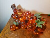 HUGE Vintage Lucite Acrylic Amber Grape Cluster Mid-Century Modern MCM Decor