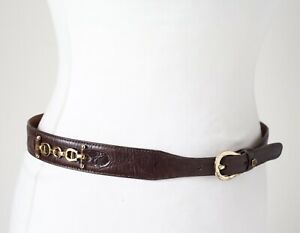 Etienne Aigner Belt Leather Brown Horse-Bit Snaffle Trim - Small