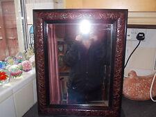 Vintage mirror carved mahogany frame flowers bevel edge glass 43x53cm