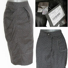 NWT SPORTMAX Grey Linen Casual Formal Pencil Midi Skirt size-10 EU-38 £290