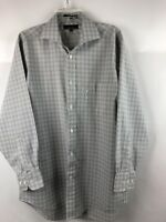 FACONNABLE Cotton Dress Shirt, Size L, 4/16 R, Button-Down, plaid, made in USA,C