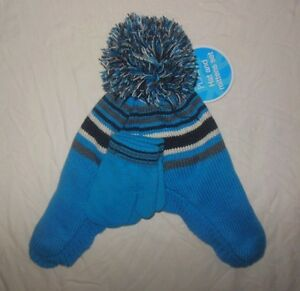 NWT The Children's Place HAT & Mittens Boys Knit Blue striped 6-12 2T 3T Toque