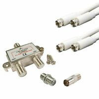 2 Way F Type Cable TV / CATV / Broadband Splitter KIT for Virgin Media etc
