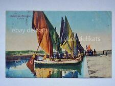 RICCIONE Saluti il porto animata barca pesca fish boat Rimini vecchia cartolina