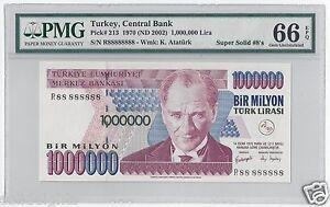2002 TURKEY 1000000 LIRA  #R88 888888  PMG-66 GEM UNCIRCULATED  SUPER SOLID 8's
