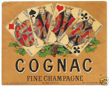 LABEL FINE CHAMPAGNE COGNAC PLAYING CARD DESIGN 4 KINGS