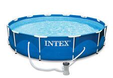 "Intex 12' x 30"" Metal Frame Set Swimming Pool with 530 GPH Filter Pump"